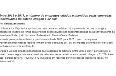 Câmara aprova PL que mantém incentivos fiscais em Sergipe